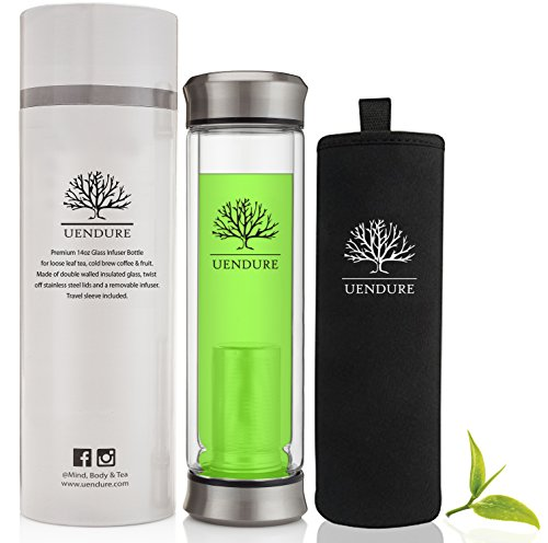 Glass Tumbler with Tea Infuser + Strainer | 14oz Water Bottle for Loose Leaf Tea + Fruit | BPA Free Travel Mug | Cold Brew Coffee + Matcha Maker | Stainless Steel Mesh Filter + Insulated Sleeve