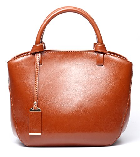 Covelin Genuine Leather Handbag Womens Retro Middle Size Tote Shoulder Bag Brown (Retro Leather Tote)