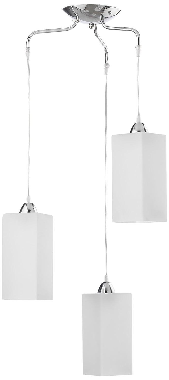 ONLI - Lampada a sospensione Tomoko 3 luci con attacco E14 stile moderno, vetro opaco, struttura metallo cromato. lampadario camera, soggiorno, camera da letto, salotto (glicine)
