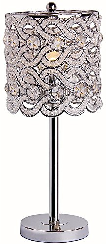 Park Madison Lighting PMT-1206-15 Contemporary Crystal Table Lamp with Polished Chrome Finish and Hand Crafted Shade, 20-Inch Tall - Crystal Polished Lighting