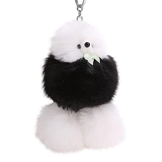 438c8e24729a BEUU 2018 Ladies Cute Poodle Hair Ball Pendant Hairball Keychain 9cm Dog  Women Key Ring Holder