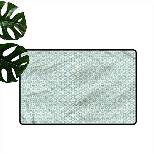 DUCKIL Welcome Door mat Garden Antique Style Floral Mosaic All Season General W31 - Antique Gardenia Garden