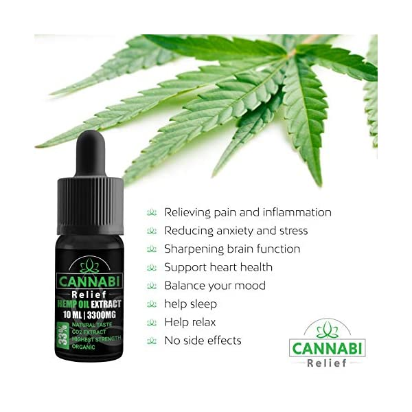 Cannabi Relief Hemp Oil Drops 33% | Great for Severe Pain Anxiety and Sleep Support | Our Highest Strength Extract 3300mg | Made in The Netherlands