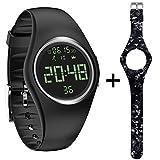 feifuns Fitness Tracker Smart Watch Non-Bluetooth Pedometer Bracelet Smart Sport Bracelet Timer Step Calories Counter Distance Time/Date Vibration Alarm Walking Kids Women Men (Black+Band)