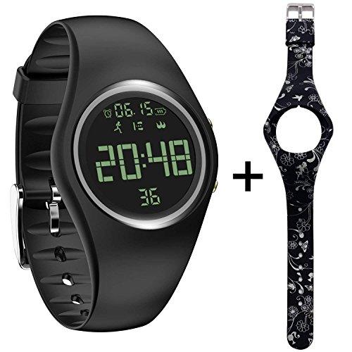feifuns Fitness Tracker Smart Watch Non-Bluetooth Pedometer Bracelet Smart Sport Bracelet with Timer Step Calories Counter Distance Time/Date Vibration Alarm for Walking Kids Women Men (Black+Band)