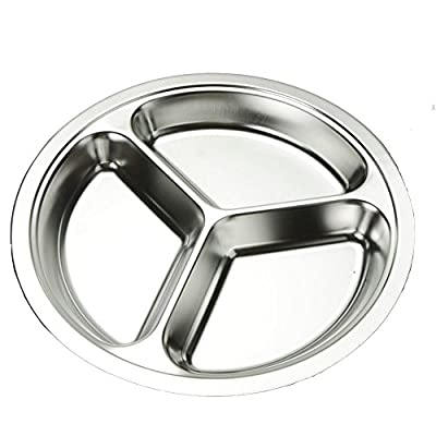 AIYoo Round Divided Plates 2 Pack 304 Stainless Steel Mess Trays 3 Sections Food Plate for Kids ,Camping, Lunch and Dinner or Every Day Use