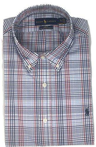 Polo Ralph Lauren Men Slim Fit Stretch Poplin Plaid Shirt, Blue, - Ralph Plaid Polo Lauren