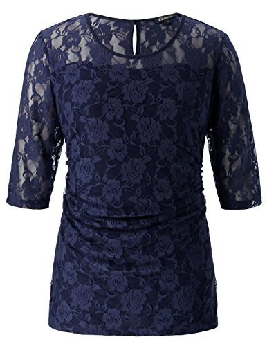 Nude Lace Top (Chicwe Women's Stretch Smitten Plus Size Lace Top Navy 2X)