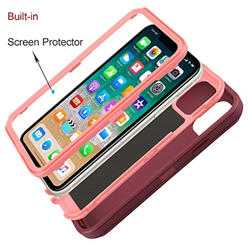 Smartelf Case for iPhone 11 Heavy Duty with Built-in Screen Protector Shockproof 3 in 1 Full Body Protective Cover Dust Proof Drop Protection Hard Shell for iPhone 11 2019 6.1\