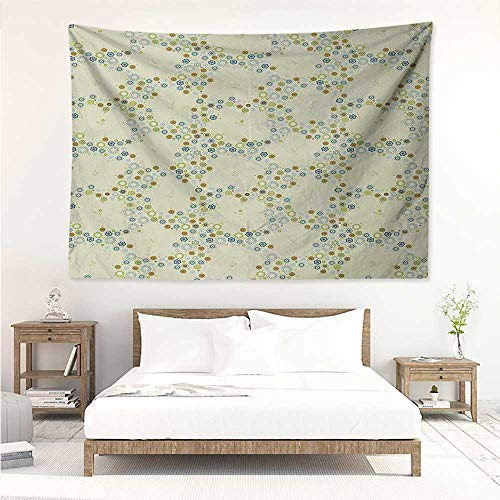 (alisos Flower,Tapestries for Sale Ornament of Medallion Shapes Bordered with Small Wildflowers Pattern Print 60W x 51L inch Mattress, Tablecloth Khaki Blue Green)