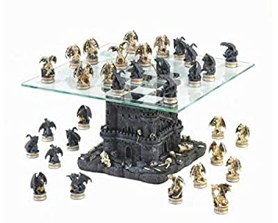 SKB Family Black Tower Dragon Chess Set battle board castle battles contests Polyresin glass