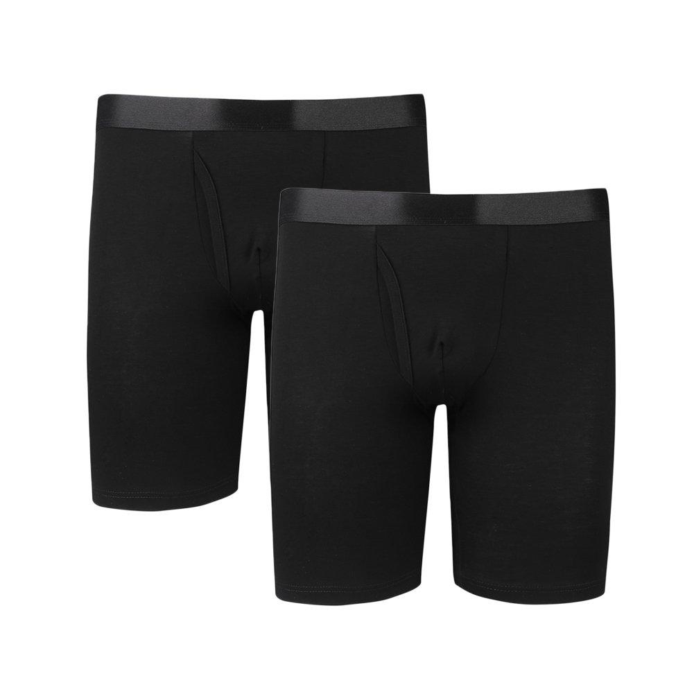 Men's Modal Big and Tall Underwear Long Leg Boxer Briefs / 2-Pack Black / 3XL (48''-50'') by Y2Y2