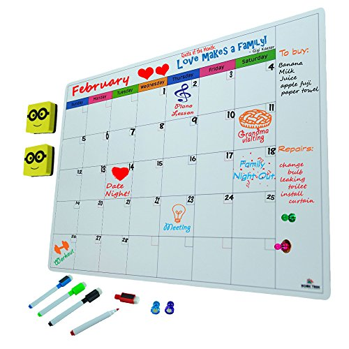 Magnetic Monthly Calendar and Planner Set For Refrigerator | White Dry Erase (Magnetic Strips Planning Kit)