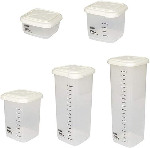 GWJS Plástico De Grado Alimenticio Caja De Almacenaje De La Cocina, Recipientes De Almacenamiento Contenedores De Plástico Transparentes-Traje De Cinco Piezas 29cm(11.4inch): Amazon.es: Hogar