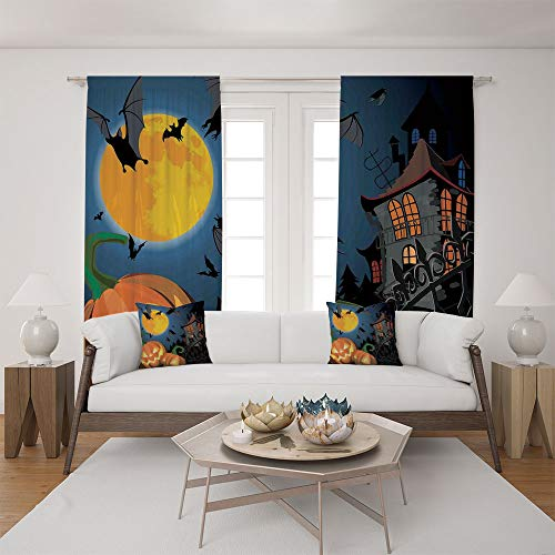 2 Panel Set Satin Window Drapes Living Room Curtains and 2 Pillowcases,Halloween Haunted House Party Theme Decor Trick,The perfect combination of curtains and pillows makes your living room warmer