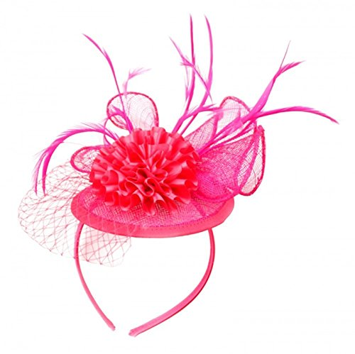 Symphony Bridal Veil (Womans Classy Fascinator Headpiece with Carnation Flower Design and a Fishnet trim -Sinamay fabric - Hot)