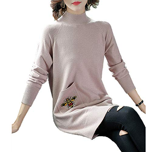 Manga De Jersey Top Larga Redondo Sweater Mujer Pink Para 58ffwCqx