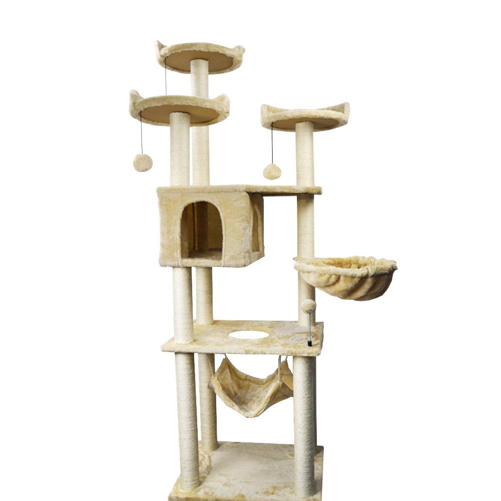 Beige 70\ Beige 70\ WIKI-01B 70  Tall Cat Tower with Hammock, Beige