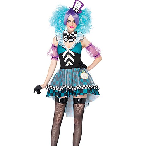 ZNFQC Women's Circus Clown Halloween Costume Joker Role Playing Party (Blue) (Cute Female Clown Costumes)