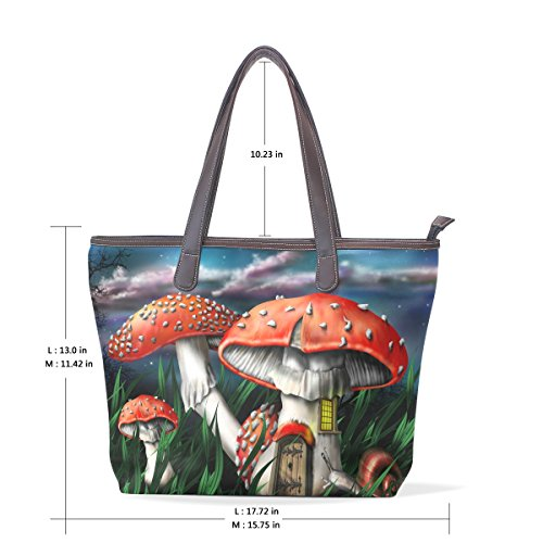 Shoulder Handle 40x29x9 Bag Pu Leather Tote Mushrooms Magic Hand Cm M Large Coosun Bag Muticolour AqwBYxE
