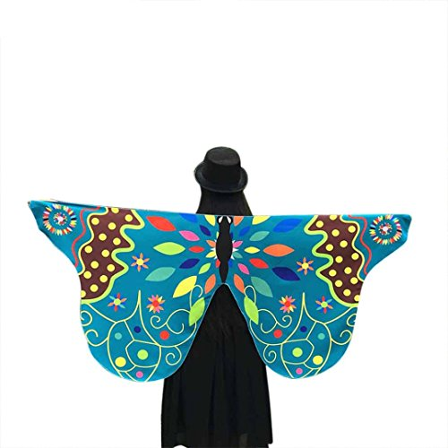 FORESTIME Women Girls Fabric Butterfly Wings Shawl Fairy Ladies Nymph Pixie Costume Accessory (green, one)