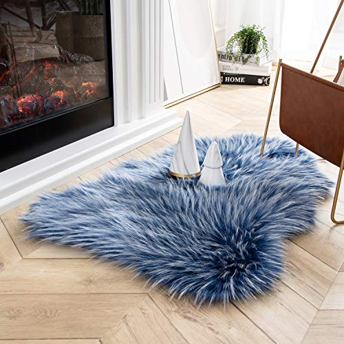 Ashler Faux Fur Rug Soft Faux Peacock Fluffy Rugs Luxurious Carpet Rugs Area Rug for Bedroom, Living Room Carpet