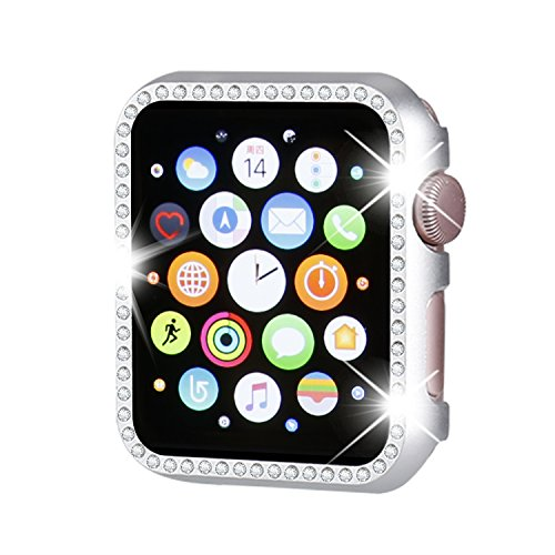 Henstar Compatible with Apple Watch Case 40mm 44mm,Compatible with iWatch Face Bling Crystal Diamonds Plate Cover Protective Frame Compatible with Apple Watch Series 4 (Silver-Diamond, 44mm)