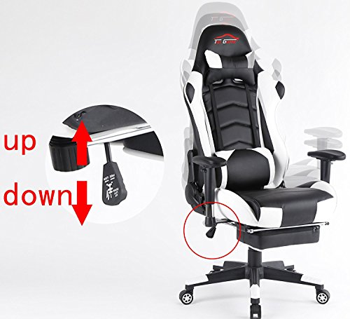Ergonomic Gaming Chair PC Game Computer Office Chair with Footrest (White) by Top Gamer (Image #3)
