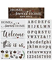 DLY LIFESTYLE Letter and Number Stencils for Painting on Wood Reusable - Alphabet Stencils with This is Us, Home Sweet Home & a Welcome Stencil for Signs & Crafts - Stencil Set for Painting & Drawing