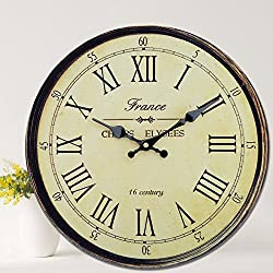 Rustic Antique Wooden Clock Wall Vintage Style Wooden Round Clocks Large Art Home Decor