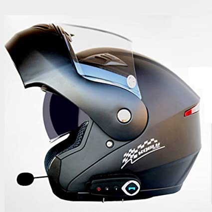 YSHMoto Motocicleta Bluetooth Cascos Modulares Flip Up Bluetooth Touring Cascos Lente Doble, MatteBlack-L