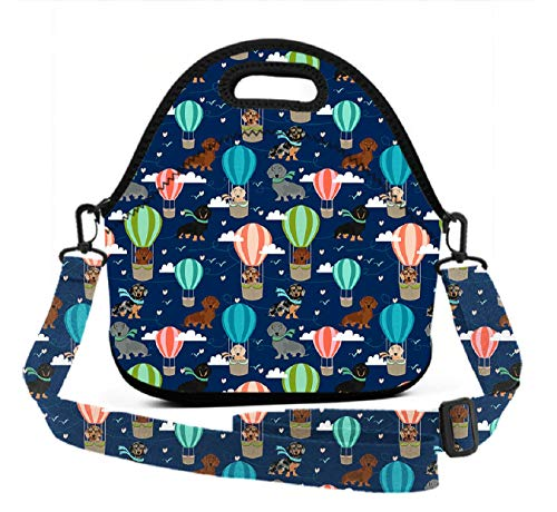 Reusable Lunch Box, Dachshund Hot Air Balloon, Lightweight Waterproof School Picnic Lunch Tote Bag for Students Teen Boys Girls - Adjustable 3D Printed Straps& Zipper