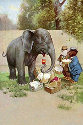 ArtParisienne Bear's Picnic Elephant Trunk R.K. Culver 12x18 Poster Semi-Gloss Heavy Stock Paper Print