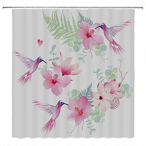 SATVSHOP Creative-Home-Ideas-Textured-Shower-Curtain-with-Beaded-Rings-Tropical-Flowers-with-Flying-Hummingbirds-Wild-Nature-Bare-Branch-Blooms.W48-x-L72-inch ()