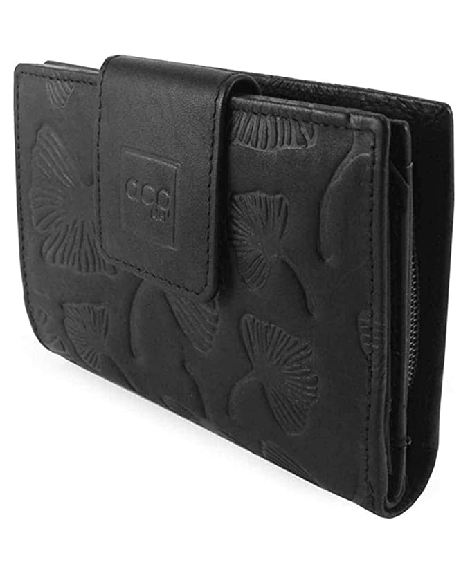 Acq Leaves Monedero Billetero Piel Negro 12cm 0.12Kg: Amazon ...