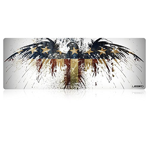 LIEBIRD Extended XXXL Gaming Mouse Pad -31.5Lx11.8Wx0.12H- Portable with Extended XXL Size - Non-Slip Rubber Base - Special Treated Textured Weave with Precision Control (Eagle Flag)