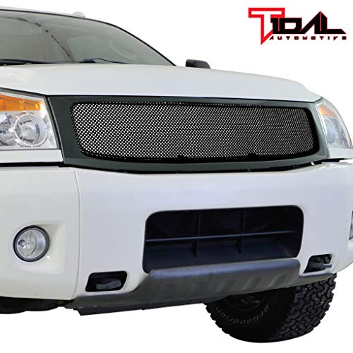 (Tidal Front Hood Grille Black Stainless Mesh with ABS Shell Fit 2004-2007 Nissan Titan/Armada)