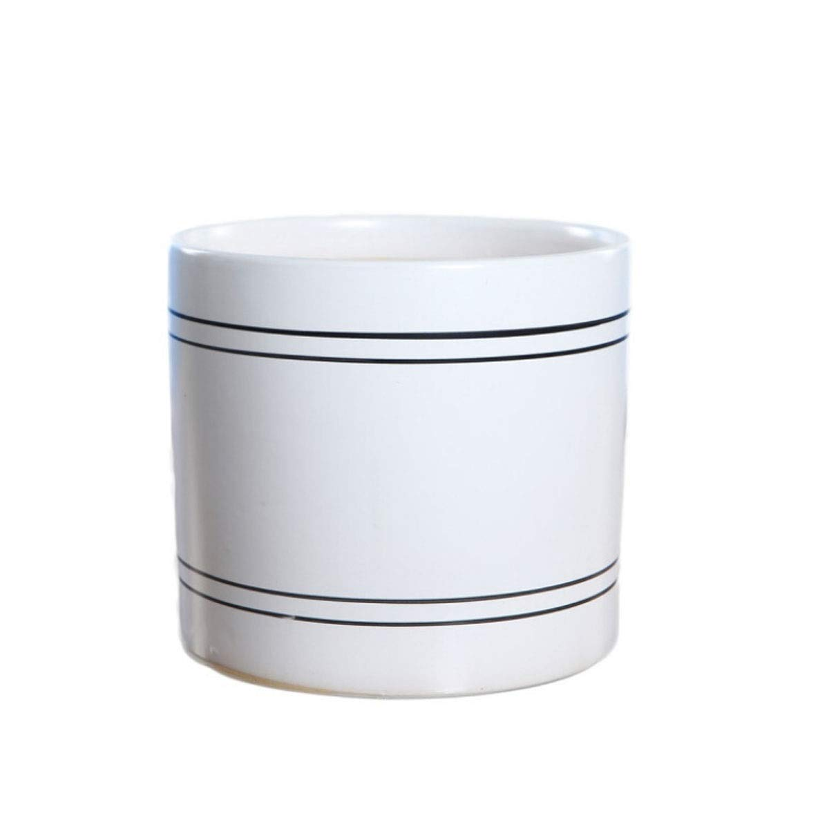 HUIJUNWENTI Ceramic Flower Pot, Fleshy Flower Pot, Ceramic Large Creative Potted Flower Pot, Nordic Style Cylindrical Breathable Office Household Pot Ceramic (Color : White, Size : Extra Large) by HUIJUNWENTI