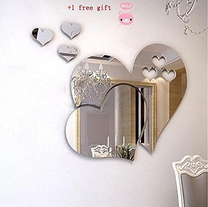Kangrunmy 3D Sticker Muraux Amour Miroir Sticker Mural Autocollant Mural  DéCoration Chambre Adulte Cuisine Ado Salon Salle De Bain Enfant Fille  Garcon ...