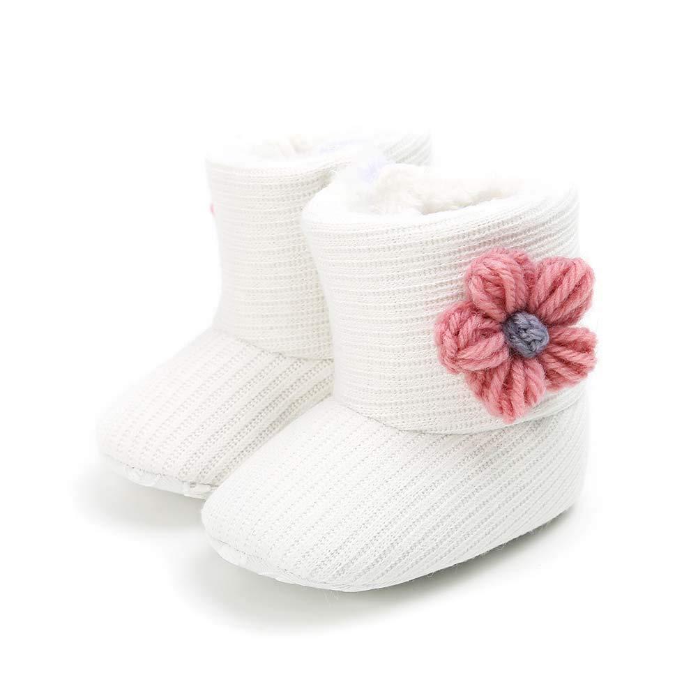 Baorong Baby Girls Knit Fur Soft Sole Winter Warm Snow Boots Anti-Slip Flower Crib Shoes