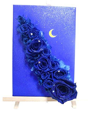【プリザーブドフラワー/星空のキャンバスアレンジ】青い星空に染まった青い薔薇の神秘【送料無料フラワーケースリボンラッピング付き】 B012B57FG8