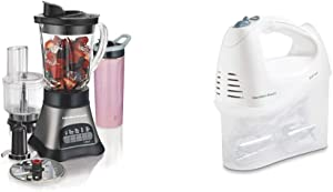Hamilton Beach Wave Crusher Blender with 40oz Jar, 3-Cup, Grey & Black (58163) & 6-Speed Electric Hand Mixer, Beaters and Whisk, with Snap-On Storage Case, White