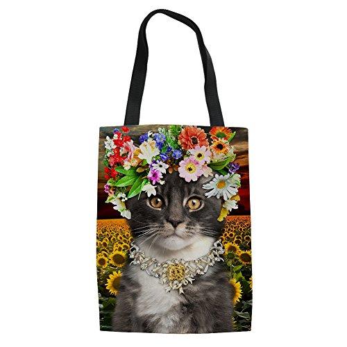pour 5 femme provisions Tote bandoulière toile Chaqlin 3 Filles Shopping en Cat Sac Cat nZxqWP0F