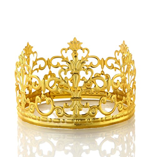 POKERGODZ Vintage Mini Princess Crown Cake Topper Small Wedding Birthday Party Decoration (Gold) ()