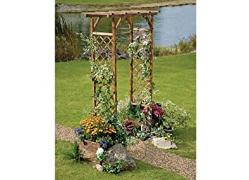 Roots & Shoots Wood Trellis Arch with Planters Amazon Garden