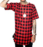 LILBETTER Men's Fashion Plaid Shirt Hip Hop Style T-Shirts(Red,L)