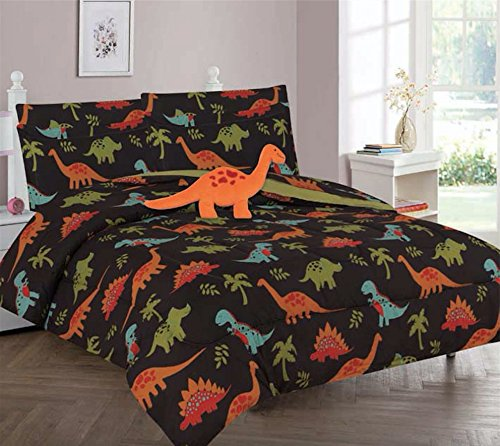 - Empire Furniture USA Kids 3 Piece Twin Size Comforter Set - Includes Toy! (Brown Dinosaur)