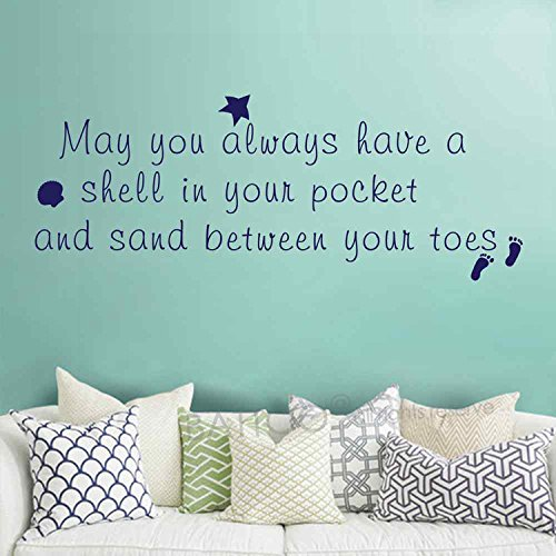 BATTOO May You Always Have a Shell in Your Pocket and Sand Between Your Toes Beach Theme Wall Murals Ocean Starfish Wall Decal Home Decor (Dark Brown, 13