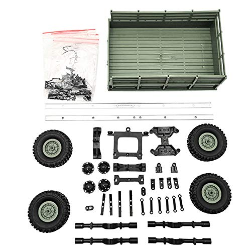 Gbell DIY Trailer Car Truck Vehicle Part Toy Set for WPL 1/16 Military Truck RC Car, Plastic Metal Educational Puzzle Toys for Kids Boys 6-14 Year Old,20x7x13.5CM,Army Green Blue Yellow (Army Green)