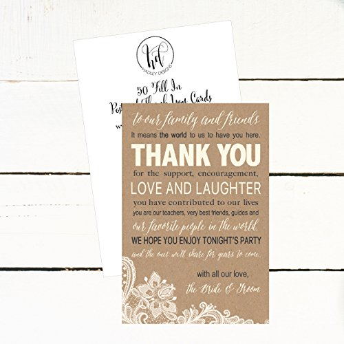50 Wedding Kraft Thank You Place Cards, Rehearsal Dinner Thank You Table Sign, Menu Place Setting Card Notes, Placement Thank You Note Favors For Family & Guests Photo #3